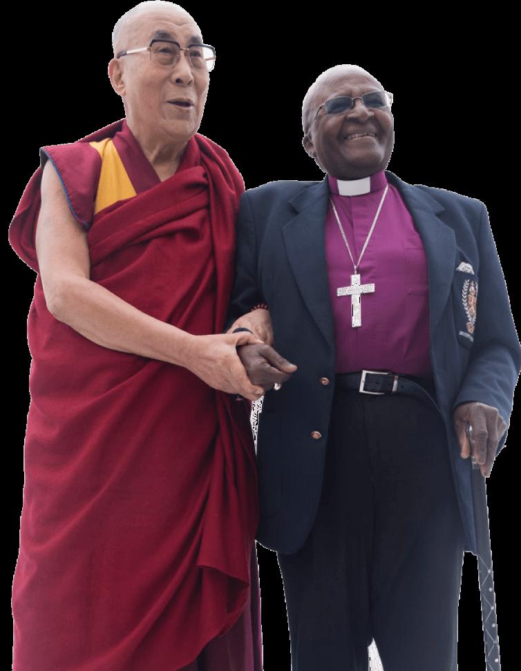 His Holiness the Dalai Lama and Archibishop Desmond Tutu linking arms