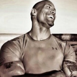 the rock smiling